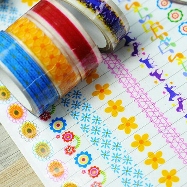 Korea stationery small tape dot love horse stars cartoon color tape DIY transparent adhesive tape Decoration Scrapbooking