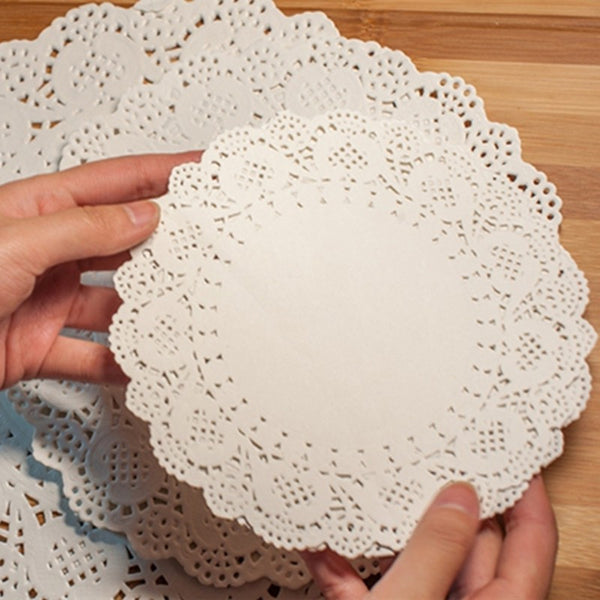 Lace Round Paper Doilies Cake Placemat Craft Vintage Coasters Wedding Party Christmas Table Decoration Dia 11.4cm 100Pcs