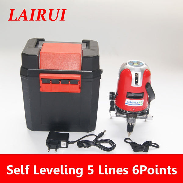 LAIRUI brand 5 lines 6 points laser level 360 degree rotary cross laser line level with outdoor mode and Tilt Slash Function