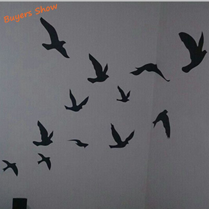 large size free shipping pretty birds flying wall stickers removable