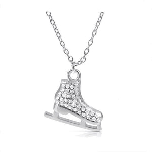 6395d7e487 Light Silver Plated 3D Ice Skates Figure Skater Crystal Reversible Pendant  Charm Necklace Winter Jewelry