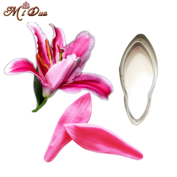 Lily Petal Silicone Veiner & Cutter Flower Petal Cutter Fondant Sugarcraft Stainless Steel Cutter Cake Decorating Moulds