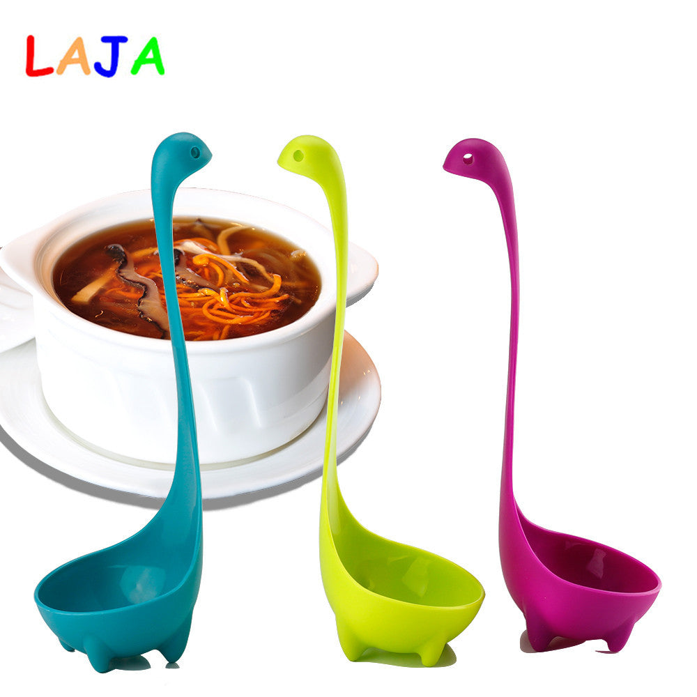 Loch Ness Monster Spoons Cartoon Food-Grade PP Long Handled Spoon Kitchen Dinner Spoon Soup Tableware Kitchen Accessories PY0033
