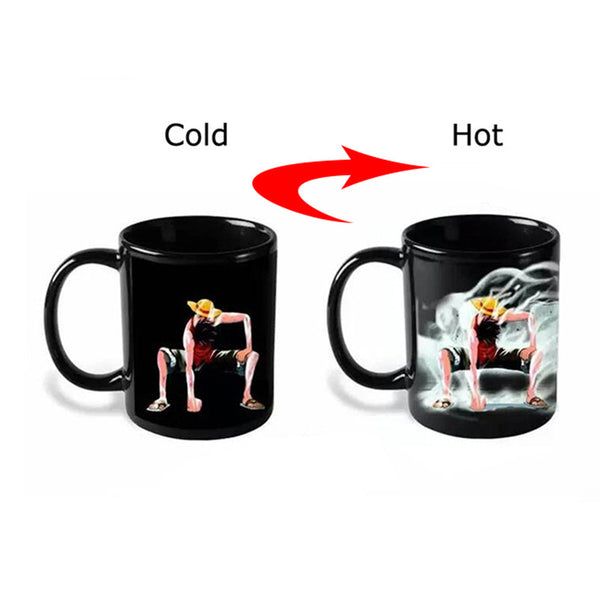Luffy Color Changing Change Porcelain Mug Heat Sensitive Mug Ceramic Cup For Coffee Tea Milk Holiday Gift Transhome