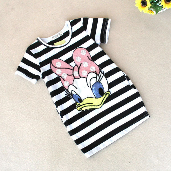 Malayu Baby 2016 latest summer girls striped dress children cartoon Donald Duck the two sides in my pocket dress 2-7 years A122