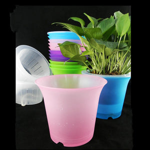 (Minimum order $5) Colorful Flower Planter Plant Pot Home Office Decor Round For Garden Decoration Automatic watering 6 color