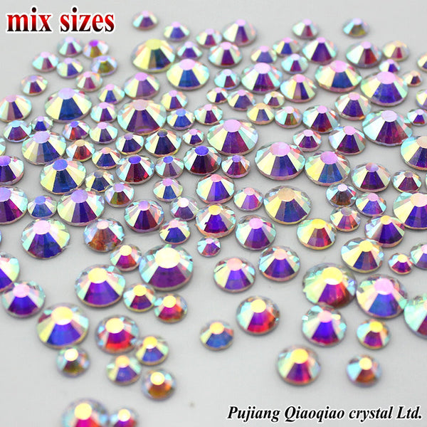 Mix Sizes SS3-SS16(1.3mm-4.0mm) 3D Nail Art Rhinestones Shiny Clear AB Non HotFix Stones Flatback For Nails Decoration