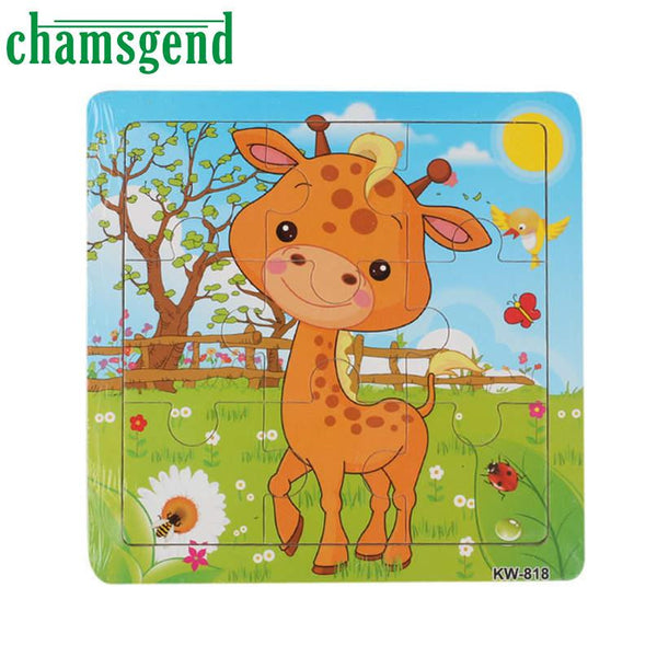 Modern CHAMSGEND Animals Puzzle Wooden Cartoon Puzzle Toy Education Kids Leopard Elephant Horse Tiger Drop Shipping H34