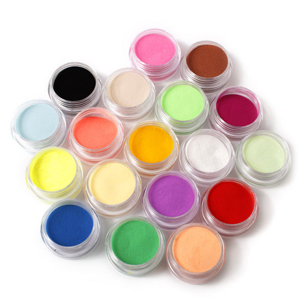 Nail powder 18 Colors Acrylic Nail Art Tips UV Gel Powder Dust Design 3D Decoration Manicure M01202
