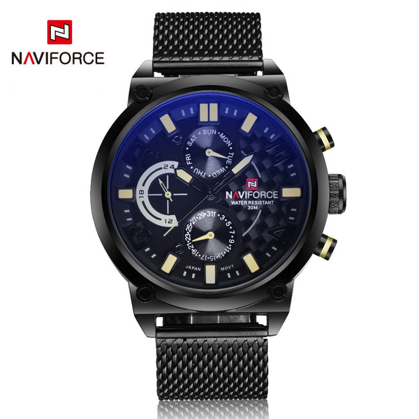 Naviforce Quartz Stainless Steel Quartz Wristwatches Men Nf9068