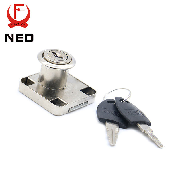 NED-138 Furniture Iron Drawer Locks 19mm Diameter 22mm Thickness Cabinet Desk Cupboard Lock Home Hardware With Plastic Keys