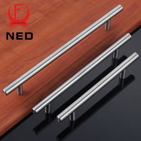 "NED 4"" ~ 24'' Stainless Steel Handles Diameter 10mm Kitchen Door Cabinet T Bar Straight Handle Pull Knobs Furniture Hardware"