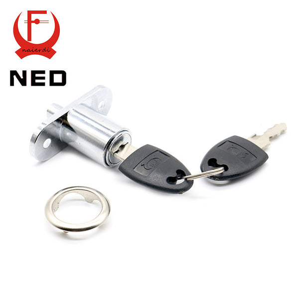 NED105-23 Plunger Lock Push Lock With 2 Key For Sliding Glass Door Showcase Lock Furniture Cabinet Lock 23mm Thickness Hardware