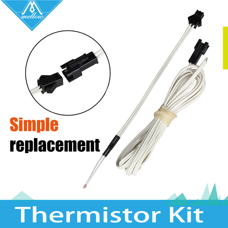 NEW 100K ohm NTC 3950 Simple replacement Thermistors with cable for 3D Printer Reprap Mend Free Shipping