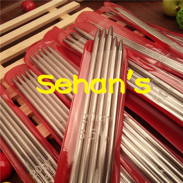New 11*5 PCS 11 sizes 20cm Double Point stainless steel Straight Knitting Needles Sweater Knitting Needles sets 2-6.5mm