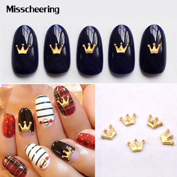 New 20pcs pack Crown Alloy Nail Art Rhinestone Golden 3d Nail Jewelry Charm DIY Beauty Salon Nail Decoration