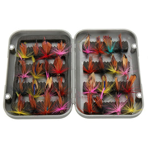 New 32pcs sets fly fishing lure set Artificial Insect bait trout fly fishing hooks tackle with case box