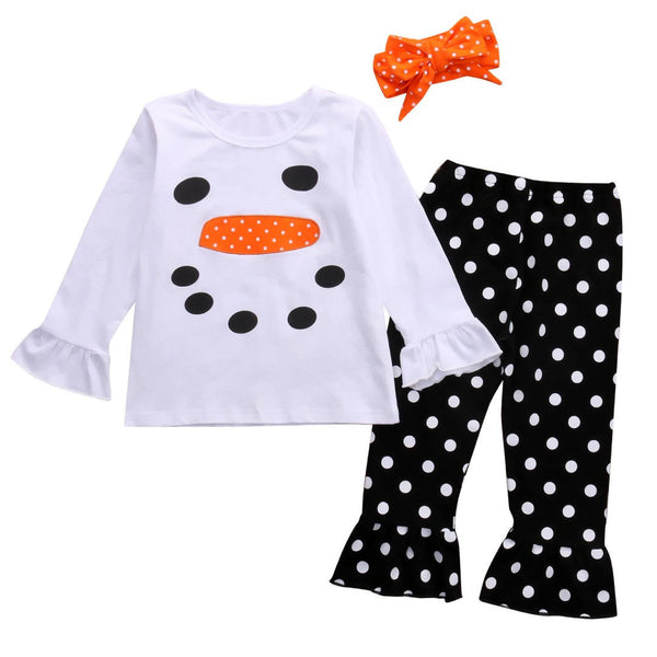 new 3PCS Set Christmas Kids Toddler Girls Snowman Ruffle Polka Dot Outfits Clothes winter