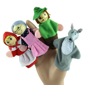 New 4PCS Set Little Red Riding Hood Christmas Animal Finger Puppet toy Educational Toys Storytelling Doll Free Shipping Vee