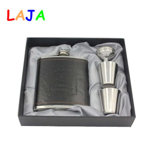 New Arrival 7oz Luxury Stainless Steel Leather Hip Flask Personalized Whiskey Jagermeister Flask Drink Mug with a Box K0046
