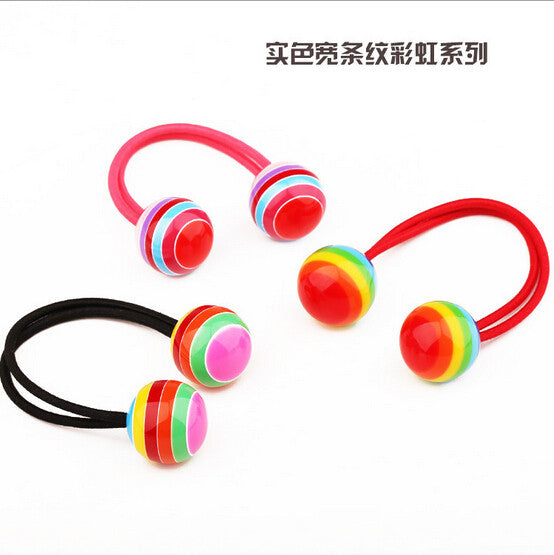 New Arrival styling tool Striped Ball Elastic Hair Bands accessories make you Beautiful used by women young girl and children