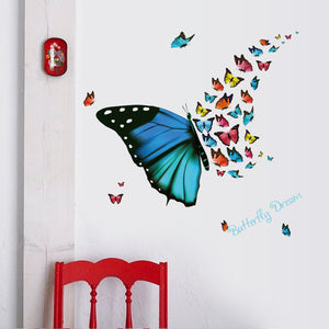 New Beautiful colorful butterfly flutters DIY Vinyl Wall Stickers bedroom Rooms Home Decor Art Decals 3D Wallpaper decoration