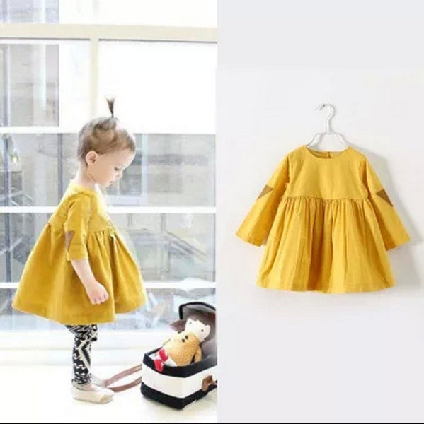 New Cotton Girl Dress Casual Knee length Solid Long Sleeve Kids Dresses for Girls Yellow Baby Girl Dress Spring Fall 2015 HOT