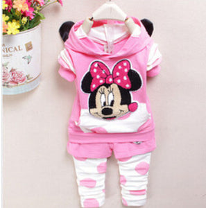 new fashion 2015 baby girl clothing set spring autumn Children coat+pants suit kids cartoon clothing set free shipping