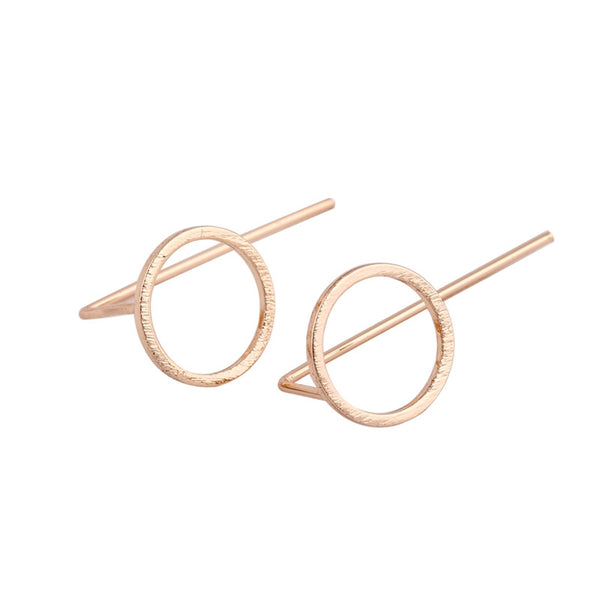 New Fashion Minimalist Gold Silver Rose Plated Circle Round Studs Earrings for Women Simple Elegant Jewelry Earrings ED058