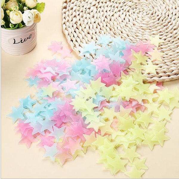 New Hot 100pcs 3D Stars Glow In The Dark Luminous Fluorescent Plastic Wall Stickers Living Home Decor For Kids Rooms