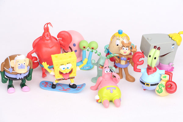 NEW hot 7-8cm 12pcs set SpongeBob Pants collectors action figure toys Christmas gift doll