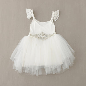 New Kids Baby Dresses with Diamond Belt White Tulle Lace Beading Princess Children Dress For Wedding Birthday 2-6Y