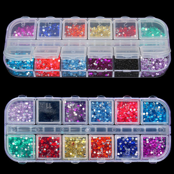 New Mix 12 Color 2mm Circle Beads Nail Art Tips Rhinestones Glitters Acrylic UV Gel Gems Decoration with Hard Case