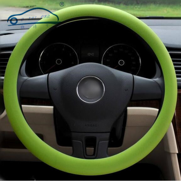 New Personalise Stretch Steering Wheel Covers Universal Skid Soft Silicone Steering Wheel Cover Auto Supplies 9 Colors