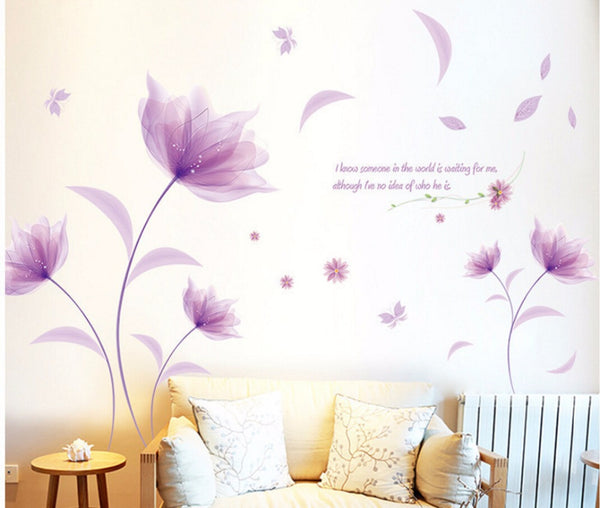 New Romantic Elegant Frosted Pink Lily Flower Petal Removable Wall Sticker Bedroom Living Room Home DIY