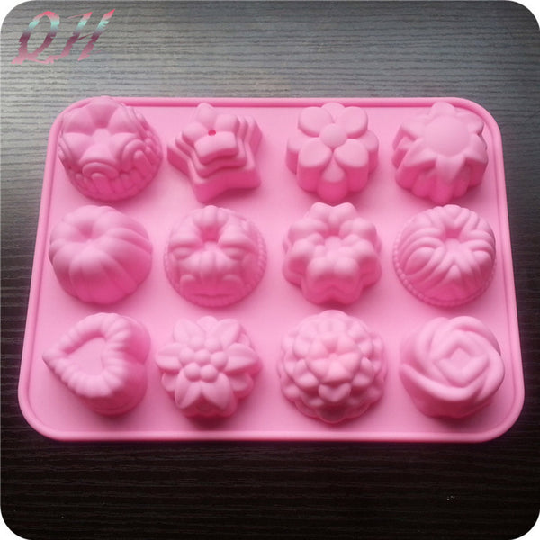 New Sale 12 Holes Different Flowers Ice Chocolate Making Tools Silicone Cake Mold Candy Jelly Soap Modeling Mould A++