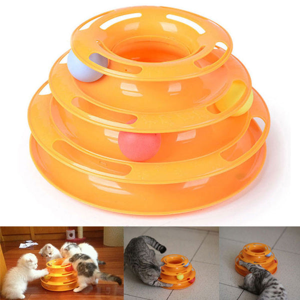 New Sale Anti Slip Orginal Design Amusement Intelligence Dog Cat Toys Three Tower Of Tracks Turntable Ball Pet Products