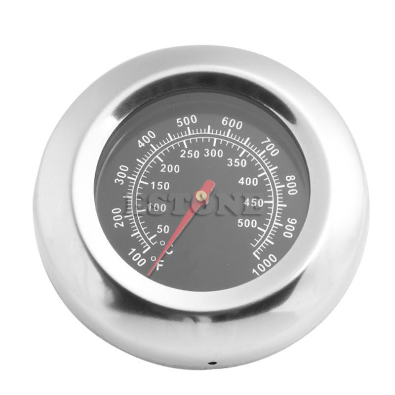 New Stainless Steel Display Thermometer Roast Barbecue BBQ Pit Smoker Grill Temp Gauge