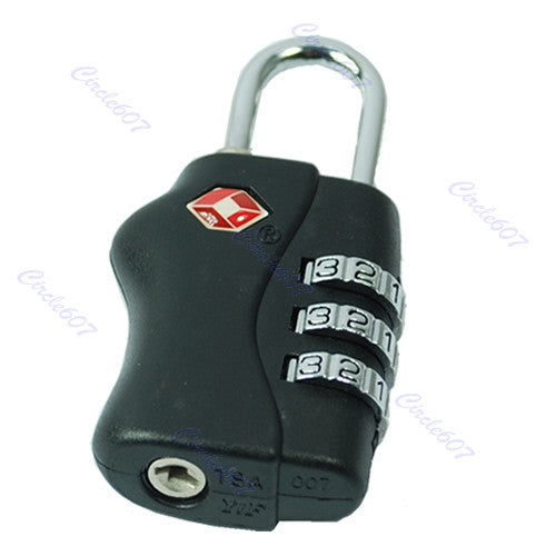 New TSA Resettable 3 Digit Combination Travel Luggage Suitcase Lock Padlock BK