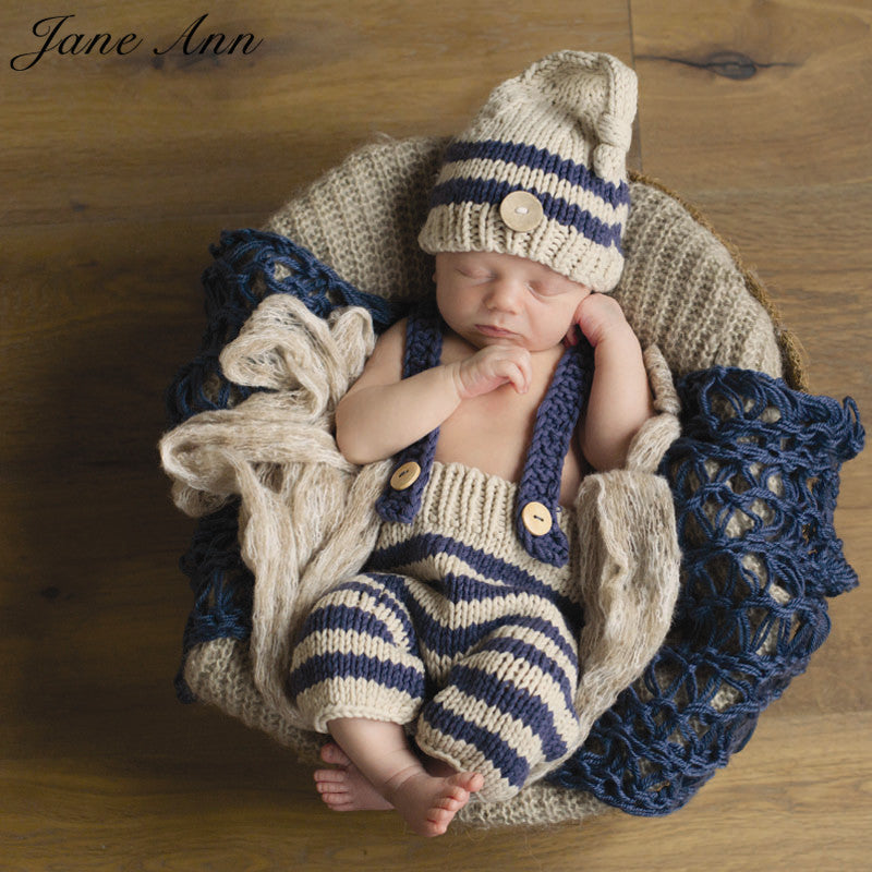1eea99389 Newborn baby photography props infant knit crochet costume blue striped  soft outfits elf button beanie+pants baby shower gift