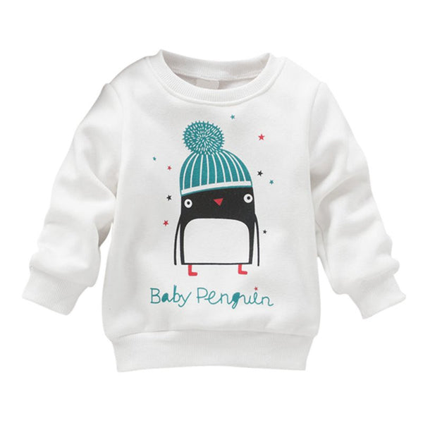 Newborn Kid Baby Girl Penguin Print Long Sleeve Sweater Pullover Cotton Sweater New