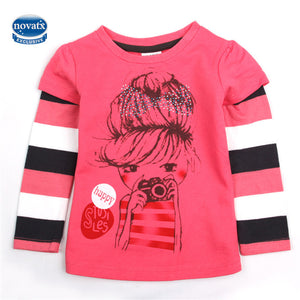 novatx F4421 baby girl clothing tops print children girl t shirts nova brand kids clothing cartoon white t shirt for girls new