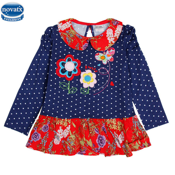 novatx H5802 kids princess girl dress 2017 full sleeve floral high quality dresses girl clothes children baby girl dresses kids
