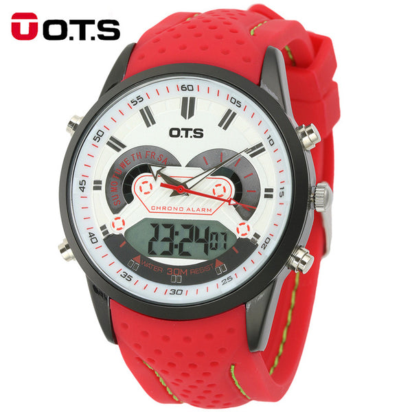 O.t.s Rubber Digital Stainless Steel Digital Wristwatches Men T8165grd