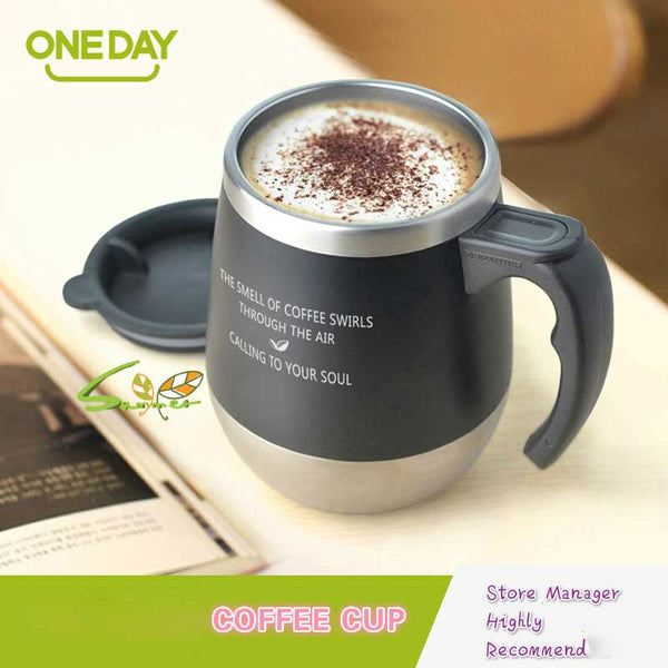 ONEDAY Coffee Mug Cute Big Belly Cup MUGS Tumbler THERMOMUG Office Stainless Steel THermocup Bottle Mugs With Lid