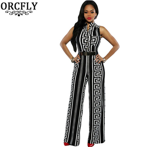 ORCFLY Plus Size Long Jumpsuits For Women Print Gold Belted Rompers Womens Jumpsuit 2016 Summer Overalls Playsuits 64021 Macacao