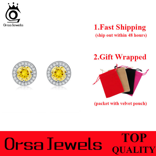 Orsa Jewels Classic Platinum Plated Cubic Zirconia Stud Earrings Women Oe104-y