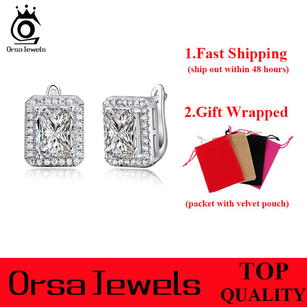 Orsa Jewels Classic Platinum Plated Cubic Zirconia Stud Earrings Women Oe95