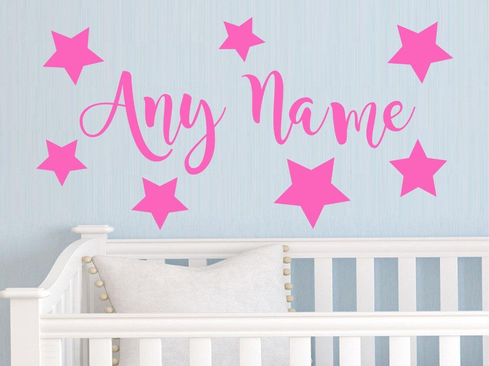 Personalized stars any name vinyl wall sticker art decal for Custom wall mural decals