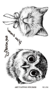 RC2258 Disposable 3d Waterproof Tattoo Sticker Paiting Brush Drawing Owl Letter Design Large Temporary Tattoo Stickers New